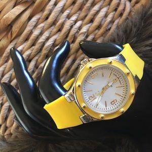 Ladies Charming Charlie lemon yellow band watch